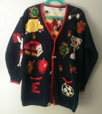 Vintage Ugly Christmas Sweater Homecoming Cardigan Eagles Eye Hand Knit Teacher
