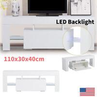 TV Stand Entertainment Center Console Media LED Glass Storage Shelf Living Room