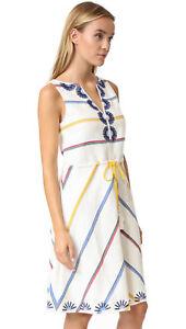 Tory Burch New Ivory Deck Stripe cotton/linen sleeveless dress NWT 8 $425.00