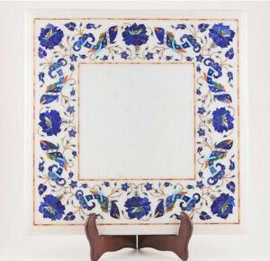"18"" Marble Table Top Semi Precious Stones lapis Floral inlay Handmade work"