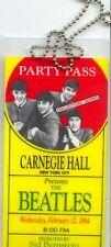 1964 Beatles Carnegie Hall Concert New York City Backstage Pass