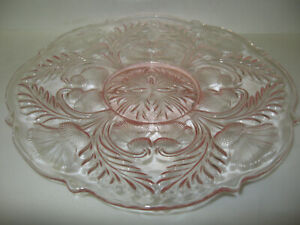 Pink Rose Glass cake serving stand plate platter pedestal thistle cookie dessert