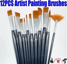 12PC artiste professionnel Soft Paint Brush Set Huile Acrylique Aquarelle Art Multi
