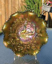 Rare Vintage Northwood Carnival Glass Two Peacocks On A Fence Bowl in Green