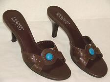 Franco Sarto Womens Brown Leather Slide Sandal Shoe - Size 8M