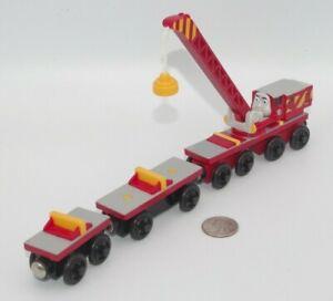 Thomas & Friends Wooden Railway Train Tank Engine - Rocky Crane w/ Cars GUC 2003