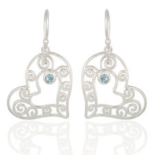 Heart Designer Blue Gemstone Dangle Earrings 925 Silver Fashion Jewelry