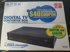 Sealed APEX Digital TV Converter Box DT502 DTV w/Remote & Analog Pass-Through