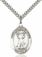 """Sterling Silver St. Francis of Assisi Medal Pendant 1 x 3/4"""" With a 24'' Chain"""