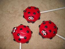 1 Chocolate Lady Bug Ladybug closed wings baby shower molded Lollipops Lollipop