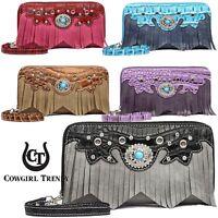 Western Style Fringe Classic Concho Studded Women Wristlet Wallet Clutch Purse