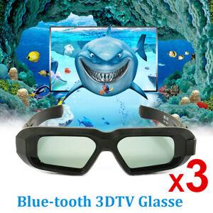 3x Aktive 3D Brille Blue tooth für Epson 3LCD Beamer and 2012-15 3DTV Samsung DE