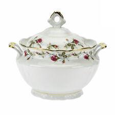 Soupière En Porcelaine Bol Avec Poignées 3L Grosse Portion Ragoût Blanc Rose Or