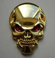 Self Adhesive Chrome 3D Metal GOLD Skull Badge for Cars Vans Quads Scooters