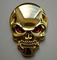 Chrome 3D Metal GOLD Skull Badge for Toyota Rav4 Prius Landcruiser Estima Previa
