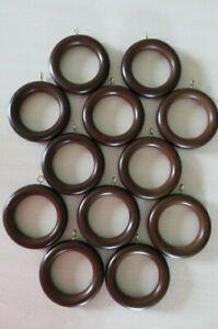Vintage Dark Brown Wooden Curtain Drapery Rings With Eye Hooks - Lot of 12