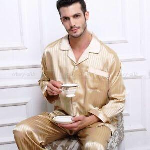 Mens Silk Satin Pajamas Sets Long Sleeves Pajamas Sleepwear Nightwear Loungewear