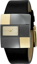 DKNY NY4454 Ladies Black & Gold Brick Leather Watch BRAND NEW Was £135!