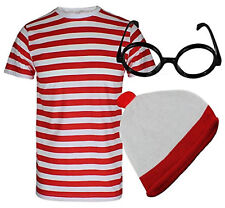 RED WHITE STRIPED SHORT SLEEVE T SHIRT HAT GLASSES FANCY DRESS COSTUME SET STAG