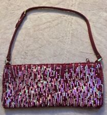 Chan Luu Small Evening Bag, Pink, Mauve, Beaded, Sparkly, Draw String Tie