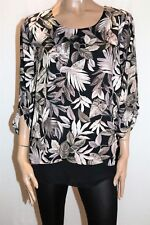 Millers Brand Brown Leaves 3/4 Sleeve Drape Up Blouse Top Size 16 BNWT #TL95