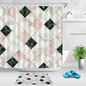 Bathroom Waterproof Fabric Shower Curtain Set Marble Luxury Geometric Pattern