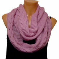 Handmade Craft Warm Wooly Winter Pink Violet Snood Style Womens Scarf Shawl Gift