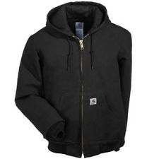 CARHARTT MEN'S J140 BLK DUCK ACTIVE JAC/QUILTED-FLANNEL LINED SIZE L