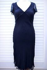 Poetry Dark Blue Silk Cocktail Prom Dress with Beading - Size 14