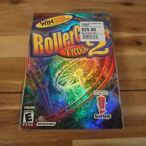 RollerCoaster Tycoon 2 USA Six Flags Version Foil Cover Big Box Rare Complete