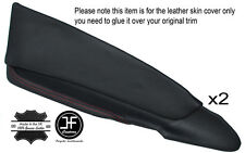 RED STICH 2X FRONT DOOR CARD TRIM LEATHER COVERS FOR HOLDEN CREWMAN VY VZ UTE