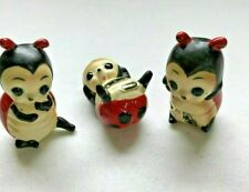 Josef Originals Set 3 Small Lady Bugs Ladybugs Figurines with Labels