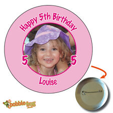 75mm HAPPY BIRTHDAY PARTY BADGE  - BIG PERSONALISED BADGES, PHOTO, ANY AGE 151