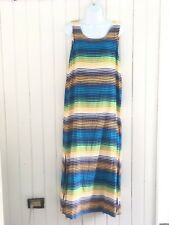 Vtg Colorful Stripe Tank Top Maxi Dress Sz L Made USA Tee Dees