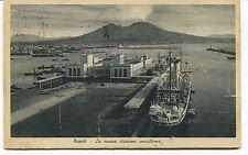 1940 Napoli La nuova stazione marittima nave timbro Guller Lucca FP B/N VG ANIM