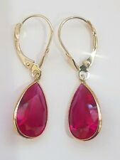 10×15 mm Pear Shaped Dangling Leverback 14k Yellow Gold Earrings Ruby Stones