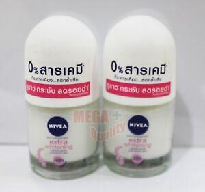 2 x 12ml. NIVEA Extra Whitening 48Hr. Deodorant Roll On Plucking Tightens Pores