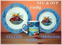 Kinder Geschirr Set 3 Teile Teller Tasse Müslischale Dino NEU