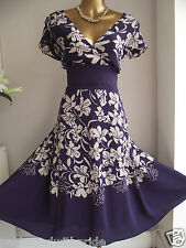 BEAUTIFUL FEMININE PURPLE NATURAL SILK FLORAL FIT N FLARE WEDDING PARTY DRESS 22