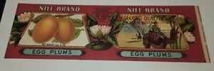 Nile Brand Egg Plums  Label California Packing Corp San Francisco Camels