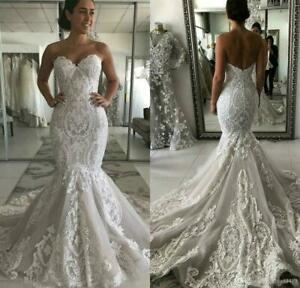 Mermaid Wedding Dresses Sweetheart Lace Appliques Open Back Bridal Gowns custom