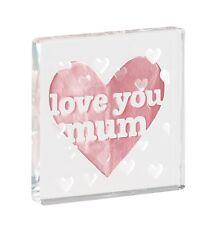 Spaceform Glass Minature Token Love You Mum Pink Heart Mothers Day Keepsake Gift