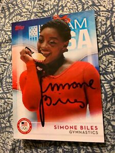 SIMONE BILES AUTOGRAPHED GYMNASTICS CARD
