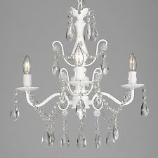 Wrought Iron and Crystal 4 Light White Chandelier H14 X W15 Pendant Lighting