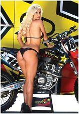 "MOTOCROSS POSTER ROCKSTAR KTM W/ PIN UP GIRL FOLDED  39"" X 27""  fmf racing moto"
