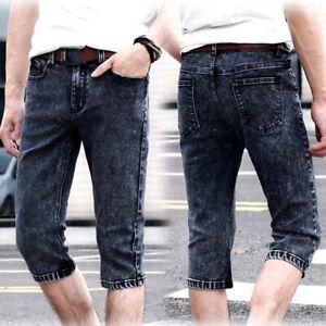 Men Denim Shorts Skinny Half Pants Summer Straight Stretch Trousers Jeans 27-34