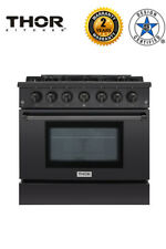 "Thor Kitchen Hrg3618-Bs Black Gas Range Professional 36"" Free-Standing"