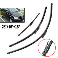 Front Rear Windscreen Wiper Blades Fit For Mercedes-Benz Vito Mixto 110 CDI W639
