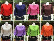New Women Thai 100%Cotton Fabric Tops Blouse Spa Uniform Chinese Collar S M L XL