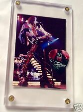 KISS Gene Simmons Alive #49 card/Hottest Show Camden photo guitar pick display!